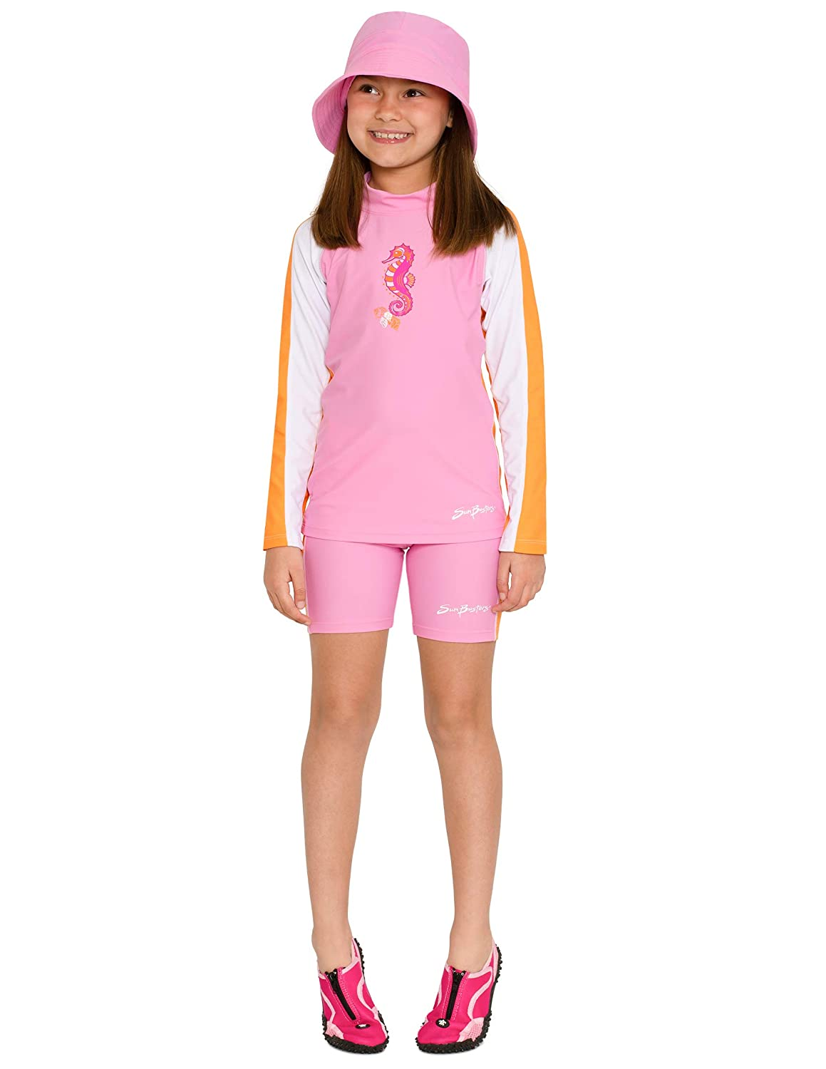 UPF 50 Sun Protection SunBusters Girls Two-Piece Long Sleeve Swimsuit Set