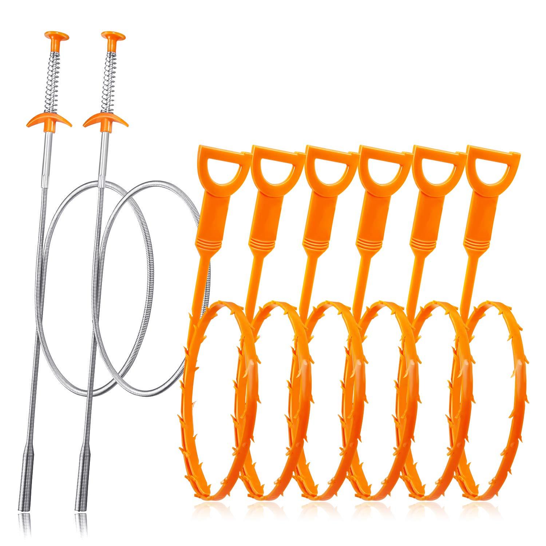 Drain Snake Hair Remover [ 23.5 Inch ; 35.5 Inch ], 8 PSC iYoYo Drain Clog Remover Tool Sink Snake Tool Sink Clog Remover