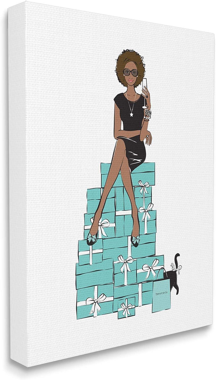 Stupell Industries Fashionista on Gift Box Stack Designer Glam, Design by Martina Pavlova Canvas Wall Art, 16 x 20, Green