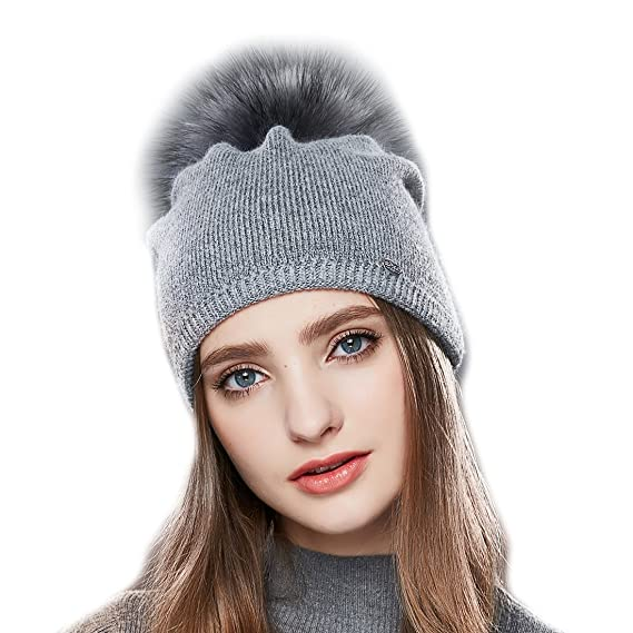 URSFUR Femme Chapeau Bonnet Tendance Pompon Fourrure Fille Bonnet Tricot  Jersey Laine Hiver gris 4deac798971