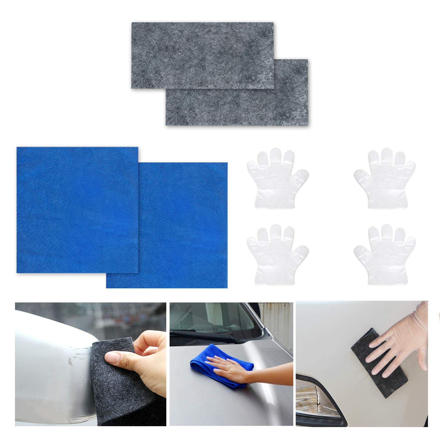 Tonsiki Multipurpose Car Scratch Remover Cloth Kit, Including 2PCS Car Scratch Remover Cloth, 2PCS Car Clean Towel and 2 Pair of Gloves for Repairing Car Scratches and Light Paint Scratches Remover