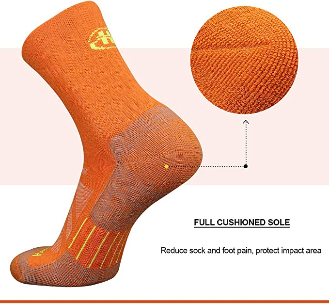 Heatuff Mens and Womens 3 /& 5 Pack Hiking Crew Socks Athletic Cushion Outdoor Trekking Sock With Reinforced Heel and Toe