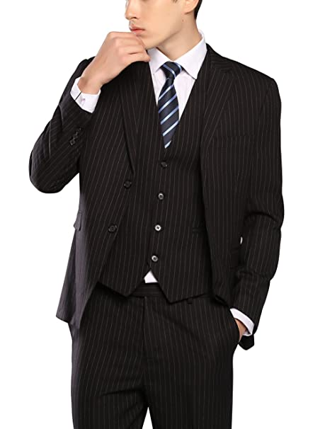 MOGU Mens Three Piece Suit Pinstripe Slim Fit Business Suits