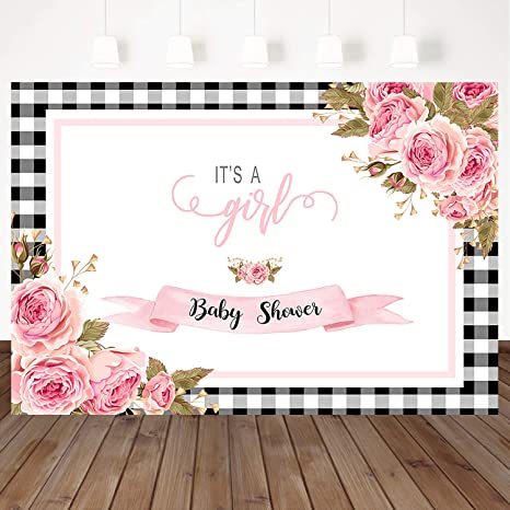 Mocsicka Its A Girl Baby Shower Backdrop Black And White Plaid Pink Flower Decoration Background 7x5ft Vinyl Girls Birthday Party Background Photo