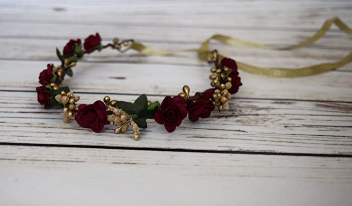99d9a7b19b9 Amazon.com  Burgundy Gold Flower Crown - Bridal Flower Crown Wedding -  Burgundy Bridesmaid - Flower Girl Headband - Floral Hair Wreath - Wine Rose  Halo  ...