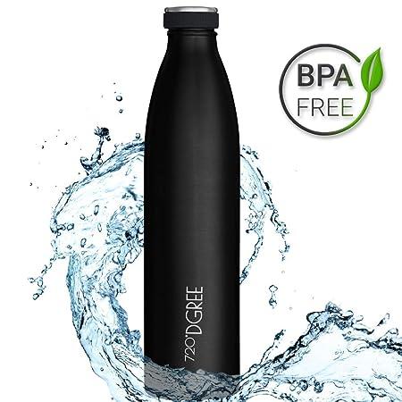 720°DGREE Botella Agua Acero Inoxidable milkyBottle – 1 Litro, 1l, 1000ml, Negro | Novedoso Antigoteo con Termo de vacío térmico termica Beber en el ...