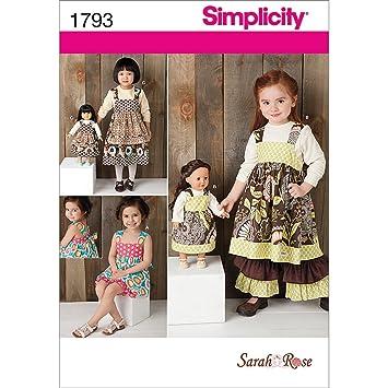Simplicity Schnittmuster 1793.a 3–8 Kinder Kleid Set und 18 Puppe ...