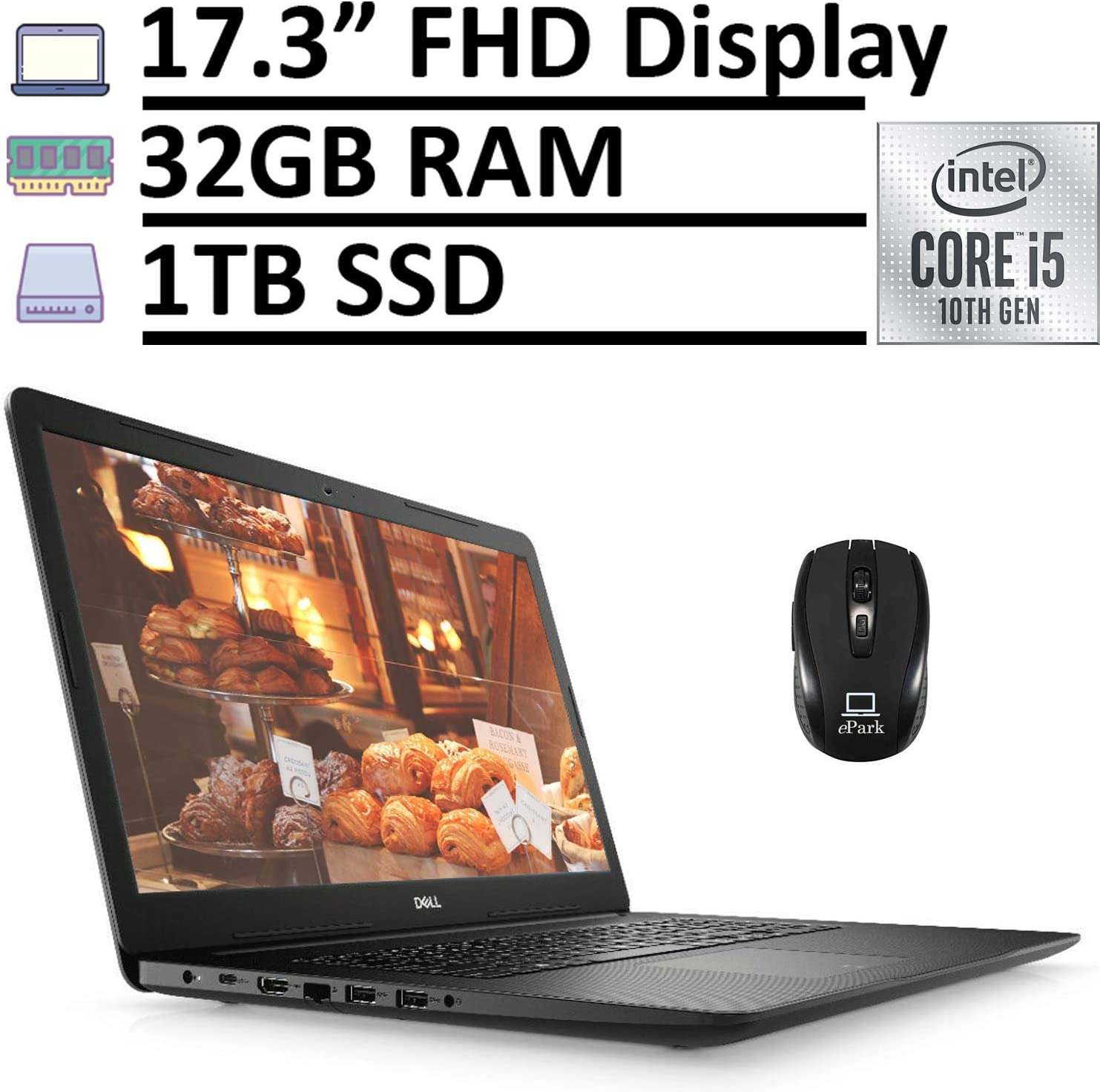 "2020 Newest Dell Inspiron 17 3000 3793 Laptop Computer, 17.3"" FHD 1080p Anti-Glare Display, 10th Gen Intel Core i5-1035G1 32GB RAM 1TB SSD, Webcam Type-C Win 10 + ePark Wireless Mouse"