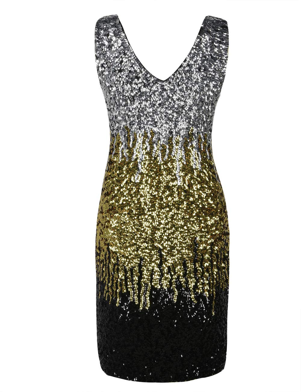 ac558e0029f5 Home/Brands/PrettyGuide/PrettyGuide Women Sexy Deep V Neck Sequin Glitter  Bodycon Stretchy Mini Party Dress L Silver/Gold/Black. ; 