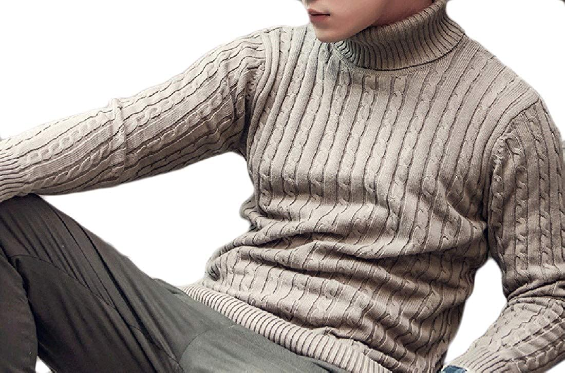 YUNY Mens Winter Thick Turtleneck Cotton Knitted Pullovers Sweater Light Brown 2XL