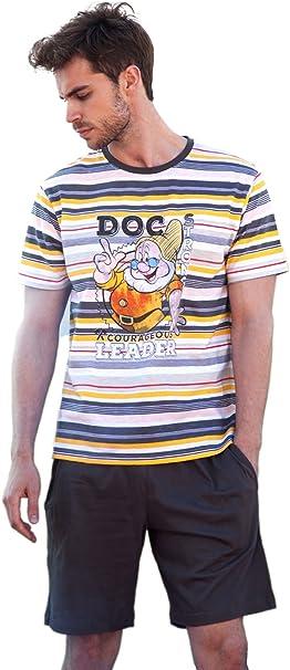 Disney - Pijama Corto para Hombre Doc, Color Gris, Talla L: Amazon.es: Ropa y accesorios