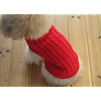 FAMI Cute Pet Clothes, European Classical Pet Sweater, Turtleneck Dog Sweater with Classic Aran Knit(Red-Large)