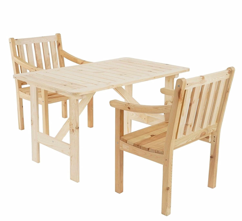 SSITG Garten-Garnitur Kopenhagen II, Tisch Stuhl, Holz Gastroqualität, natur