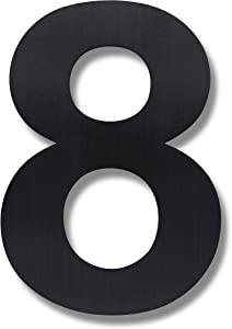 Royal H&H Modern House Number - 6 Inch Black - Solid Stainless Steel (Number 8 Eight), Floating Appearance, Easy to Install and Made of Solid 304 (Black)