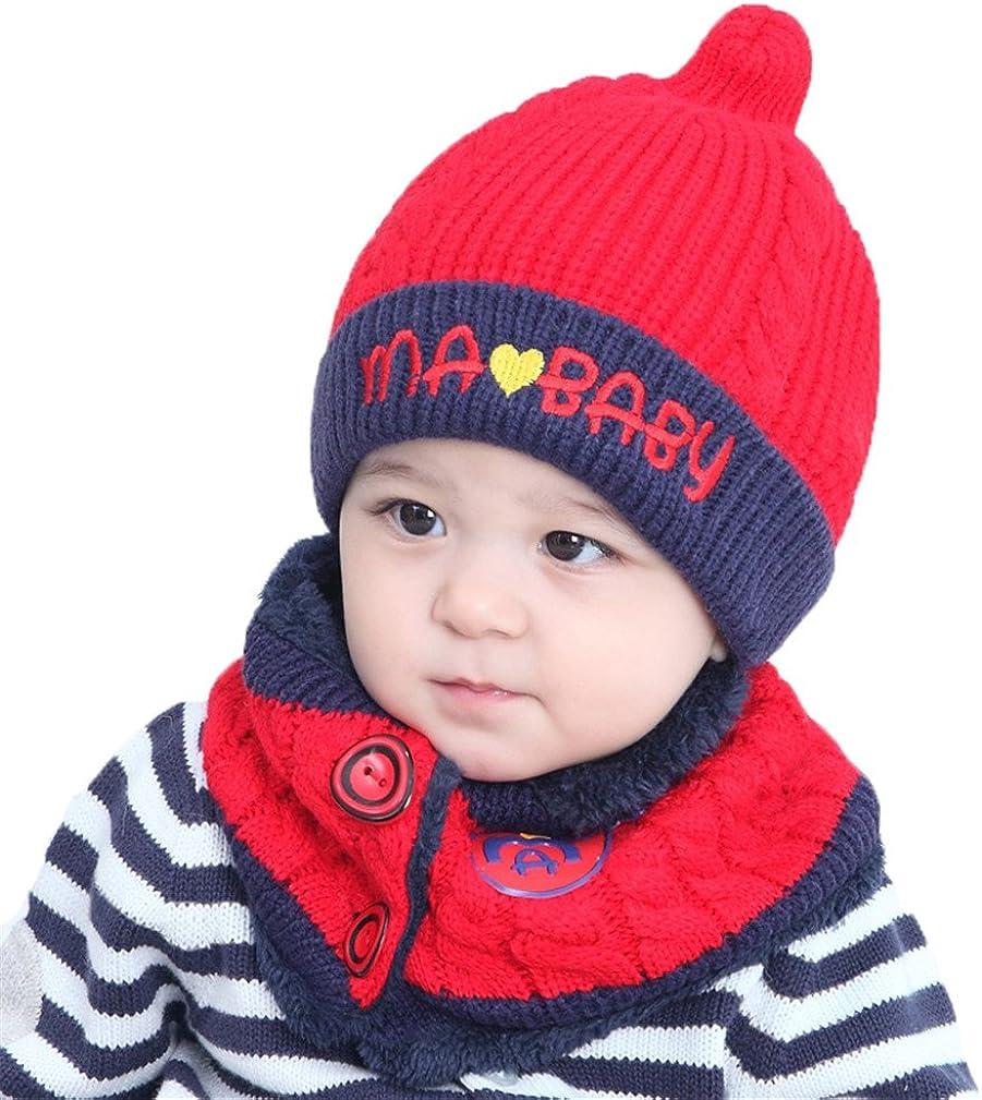 Kfnire Sciarpa del Cappello di Inverno del Bambino del Ragazzo del Neonato Unisex Impostato per Il Regalo di Compleanno di Natale