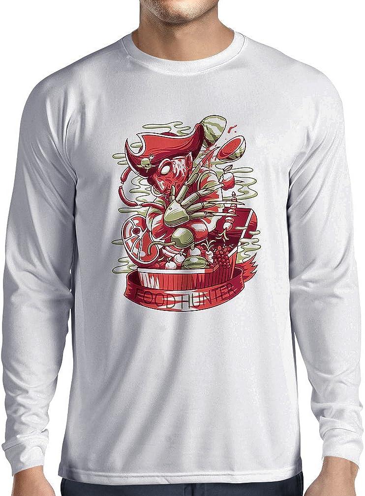 lepni.me Camiseta de Manga Larga para Hombre El Cazador de Alimentos, Freddy - Pesadilla aterradora, diseño de Parodia: Amazon.es: Ropa y accesorios