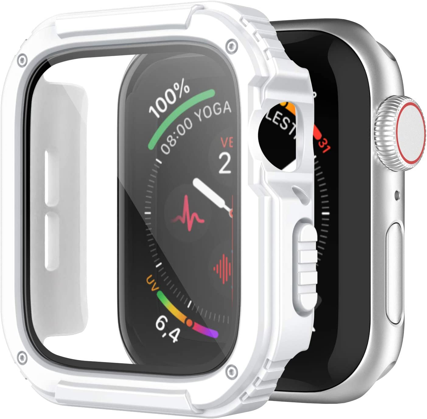 Recoppa Rugged Apple Watch Case 44mm Series SE 6/5/4 with Screen Protector, Durable Military Grade Quattro Pro Series Drop-proof Protective Cover Full Coverage Shock-proof Bumper for Men iWatch(White)