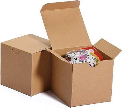 HOUSE DAY Cajas de regalo 7.6x7.6x7.6cm, cajas de papel blanco con tapas para regalos, manualidades, cajas de embalaje de magdalenas (50 piezas) (natural): Amazon.es: Oficina y papelería