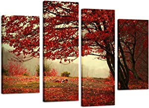 Kreative Arts - Giclee Canvas Print Red Maple Tree Floral Landscape Canvas Wall Art Picture Multi 4 Panel Split - Canvas Prints Giclee Artwork for Wall Decor