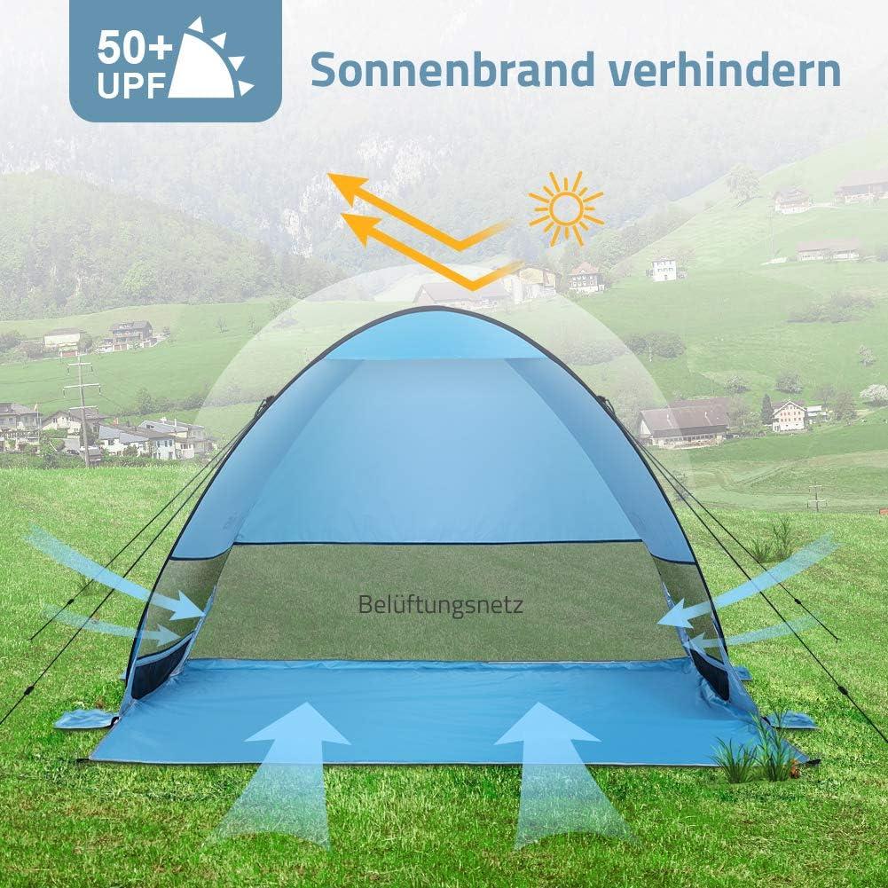 Glymnis Strandmuschel Pop Up Strandzelt mit Einer Abschlie/ßbaren T/ür UV Schutz 50 Sonnenschutz f/ür 2-5 Personen Blau