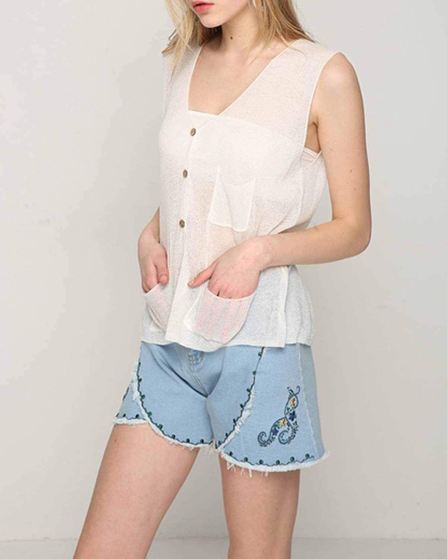 Sunfan Womens Lightweight Linen Knit Sleeveless Sweater Vest,OneSize