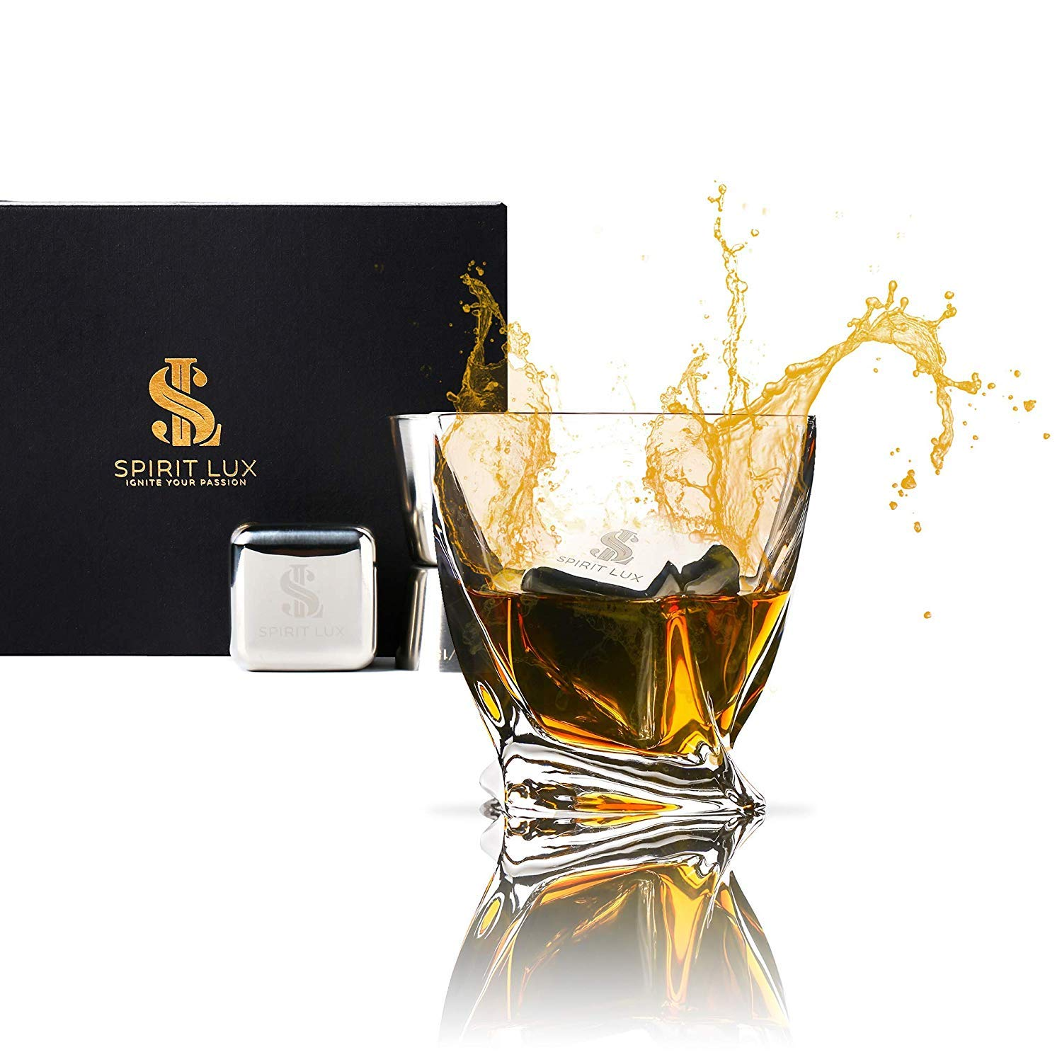 King-Sized Stainless Steel Ice Cubes Whiskey Stones Gift Set of 2, Reusable Metal Ice Cubes for Whiskey, Bourbon,Scotch, Whiskey Rocks Chilling Stones 1.5''+ Cork Coasters absorbent by Spirit Lux