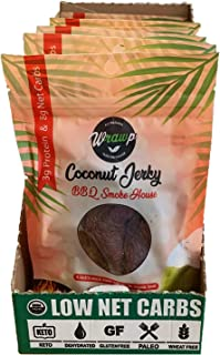 product image for Wrawp Coconut Jerky | 100% Plant Based Vegan and Raw Coconut Meat Jerky | Gluten Free, Paleo, Vegetarian, and Vegan Jerky Strips (BBQ, Case Pack (8 Packs))