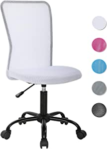 Ergonomic Office Chair Mesh Computer Chair Small Desk Chair Back Support Lumbar Support Modern Executive Adjustable Chair Mid Back Task Rolling Swivel Chair with Wheels Armless (White)