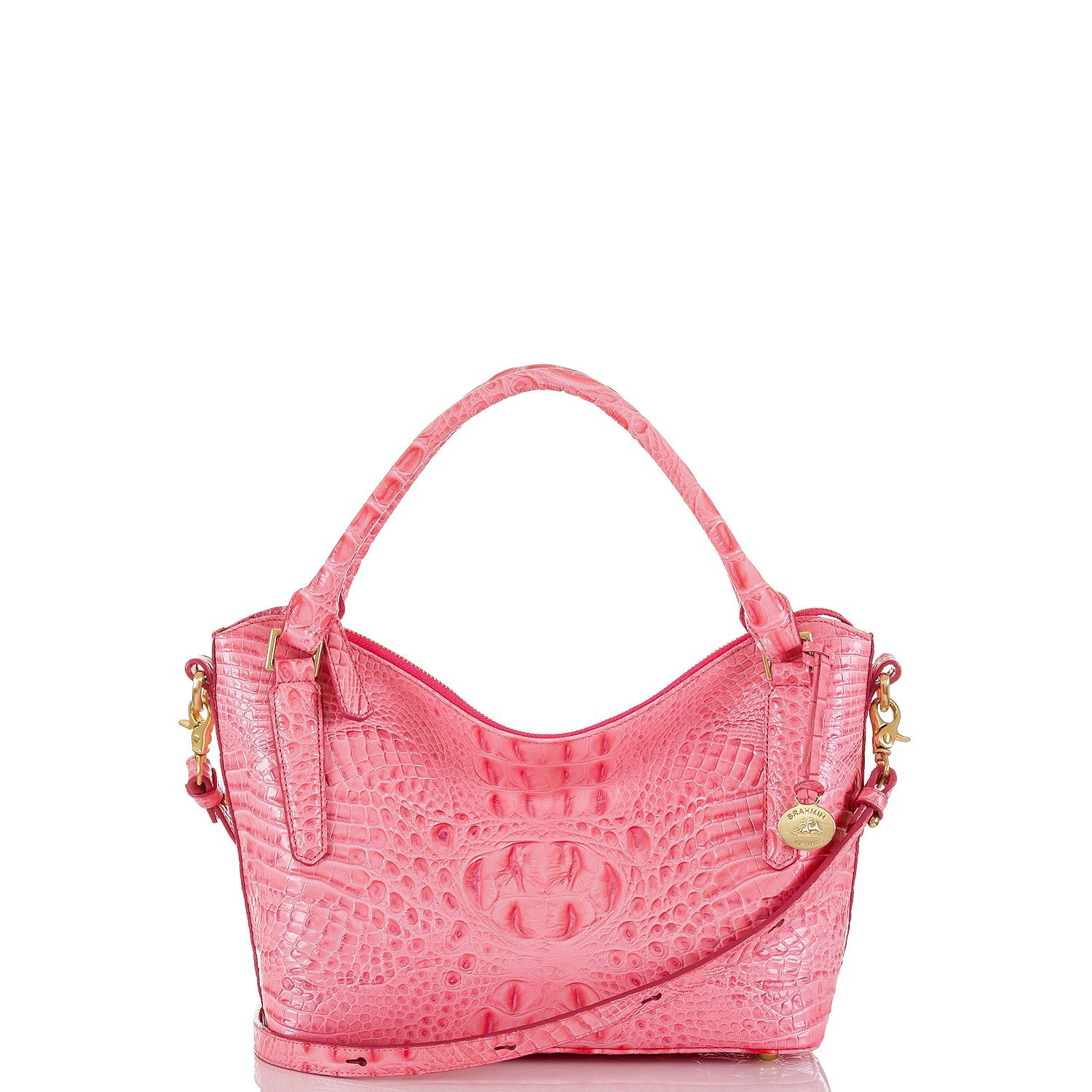 Brahmin Small Melbourne Norah Convertible Satchel (Pink Lychee)