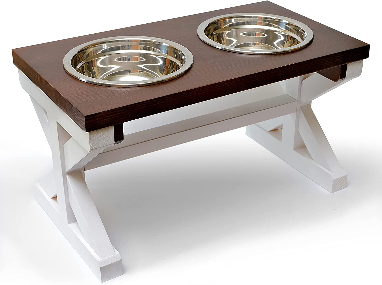 Raised Dog Bowls for Medium Dogs, Wooden Dog Food Bowl Stand for Medium Dogs, Elevated Dog Bowls, Dog Bowl Stand for Medium Sized Dogs, Farmhouse Dog Bowl Holder