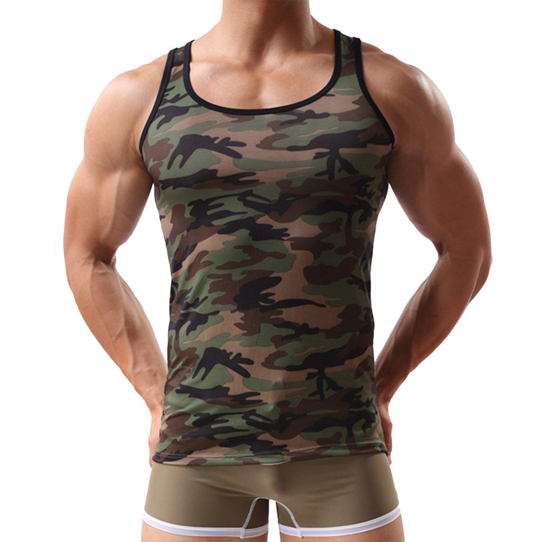 Cockcon Herren Camouflage Tank Top Militär-Top Muscle Shirt