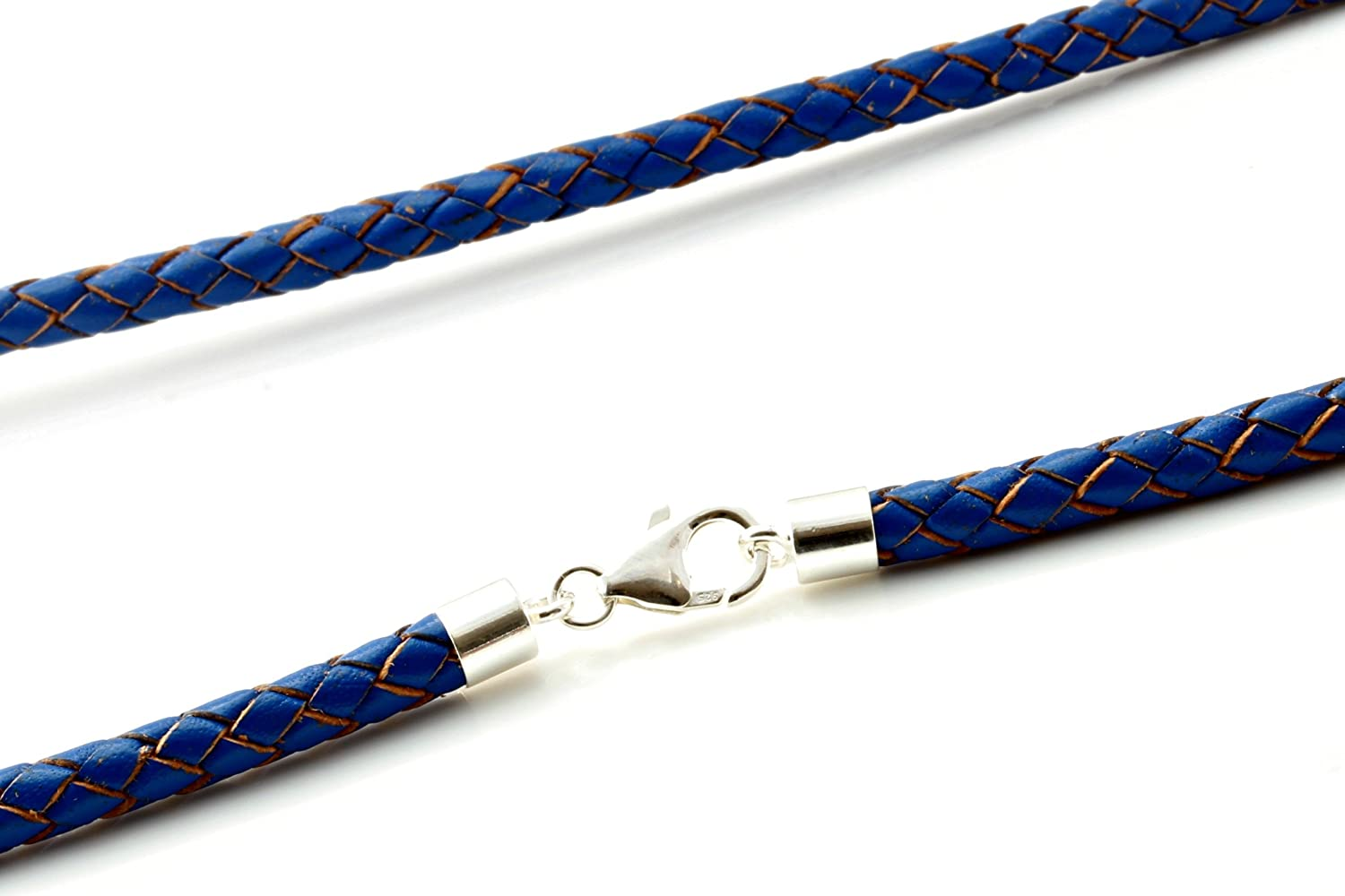 Leather Necklace Blue Sterling Silver Clasp Genuine Braided Leather Mens//Ladies
