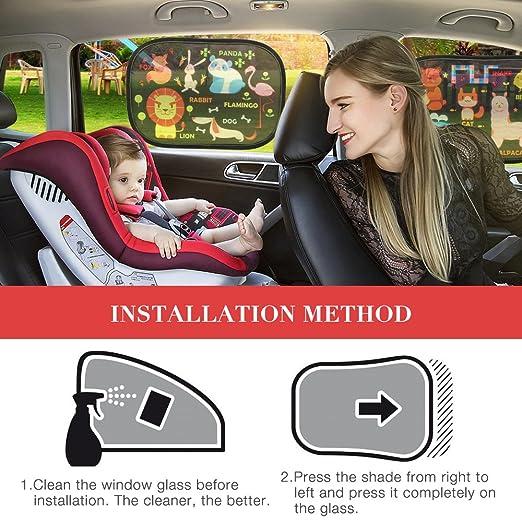 Sonnenschutz Auto Baby 2 St/ück DinQi Sonnenschutz Auto Selbsthaftende Sonnenblende Auto Sonnenschutz Kinder Baby mit UV Schutz mit Aufbewahrungsbeutel Schwarz