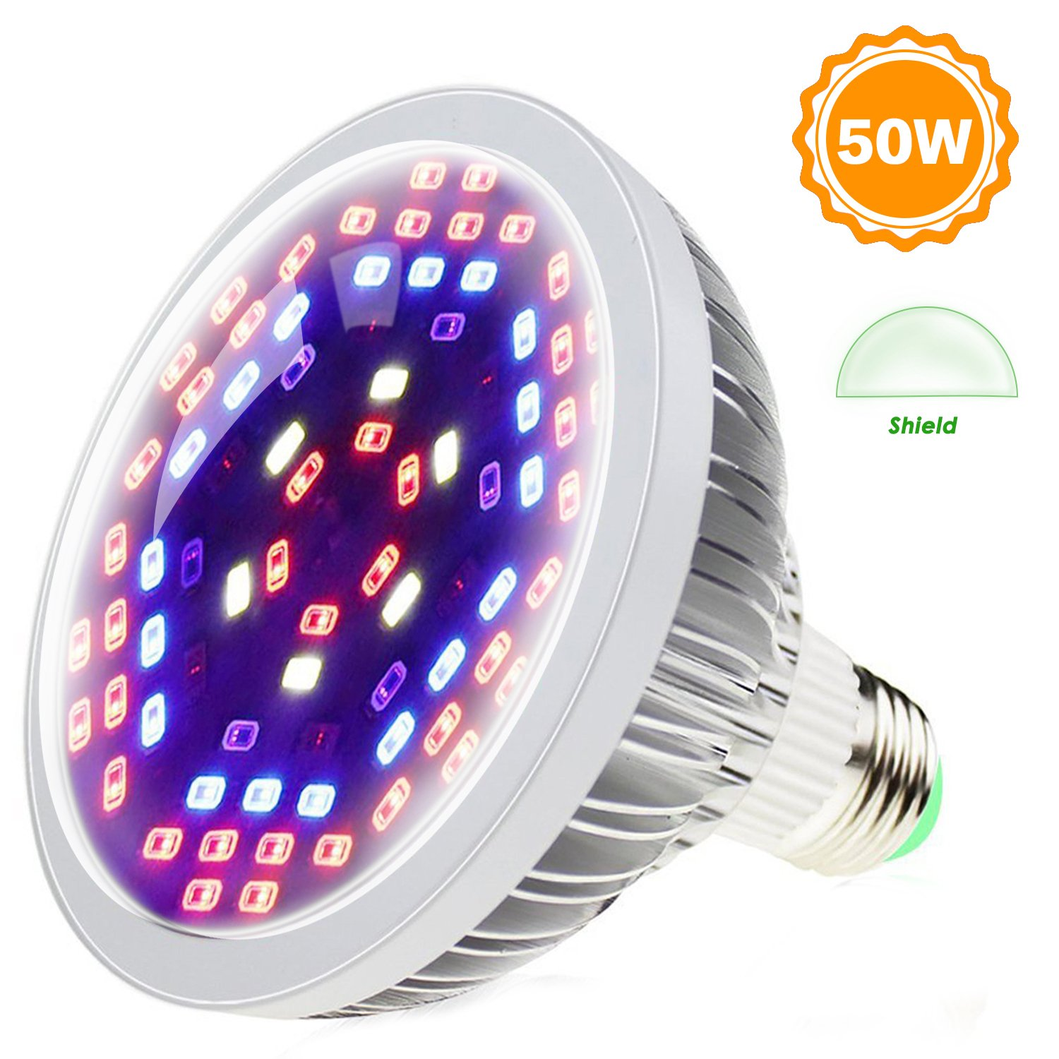 Shekar 50W Full Spectrum LED Plant Grow Light Bulb with Shield | Plant Lamp Bulb for Home, Indoor Garden Greenhouse and Hydroponic Aquatic (E27, 78LEDs)