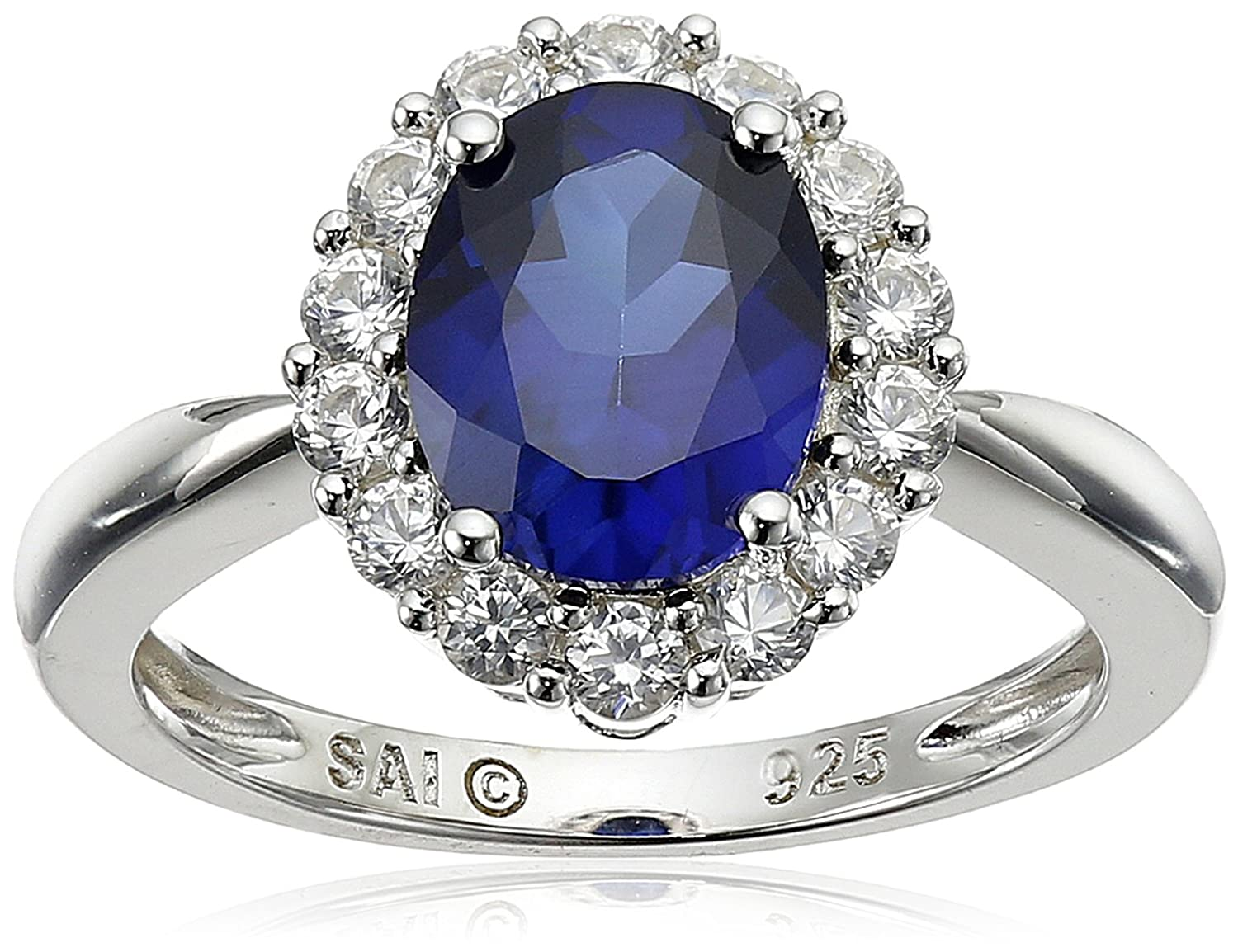 regal flis cubic zirconia blue sapphire pin ring engagement
