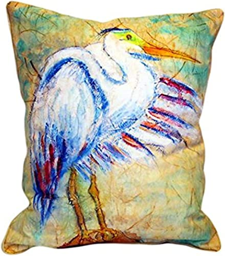 Betsy Drake Egret On Rice Indoor Outdoor Pillow, 16 x 20