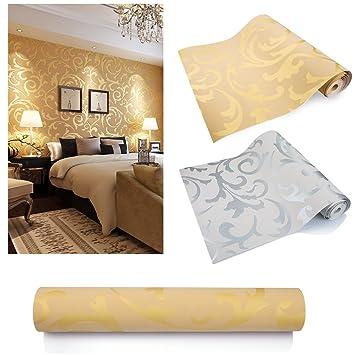 KINLO Tapete Vlies 3d 10x0.53m Tapete gold wandtapete barock für Wohnzimmer  TOP Qualität Wandaufkleber für Schlafzimmer Möbelfolie barock tapete ...