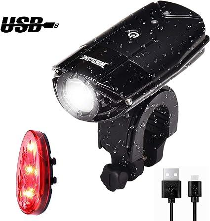 1800 Lumen 4 Mode Puissant//Moyen//Faible//SOS /Étanche IPX-5 Eclairage Avant USB Rechargeable 2* T6 LED CREE XM-L2 Elekin Lampe de V/élo Lumi/ère 5200mAh Double Batterie Int/égr/ée