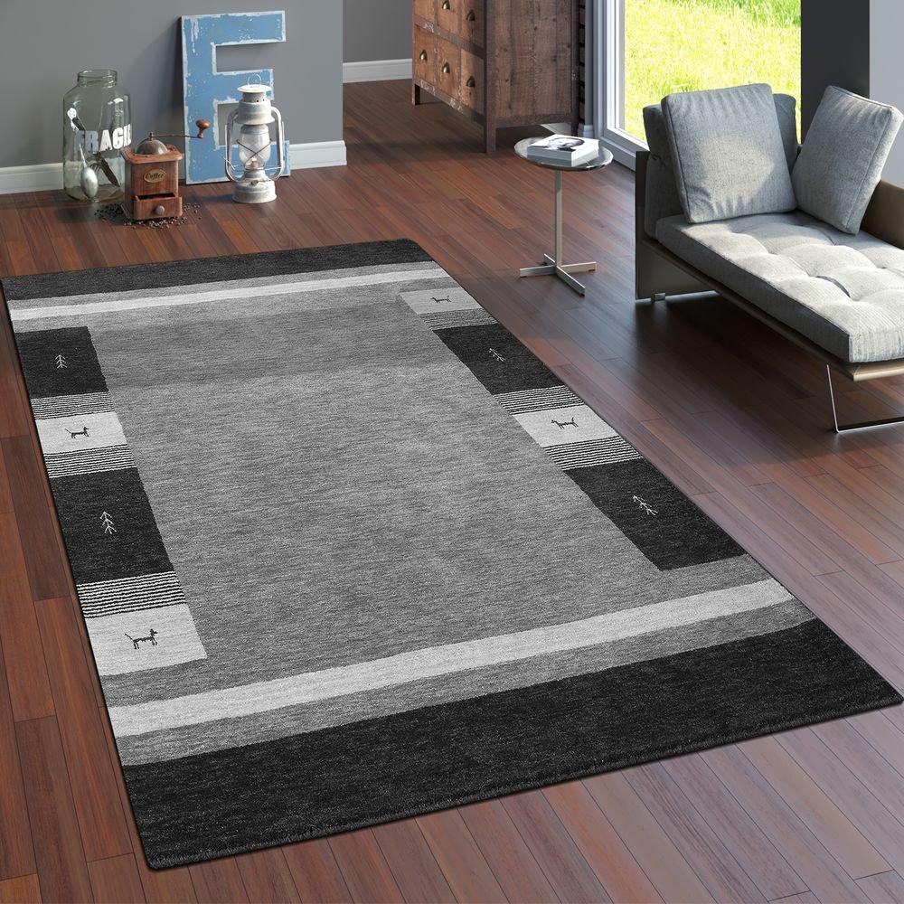 Paco Home Teppich Handgewebt Gabbeh Hochwertig 100% Wolle Meliert Bordüre In Grau, Grösse 160x230 cm