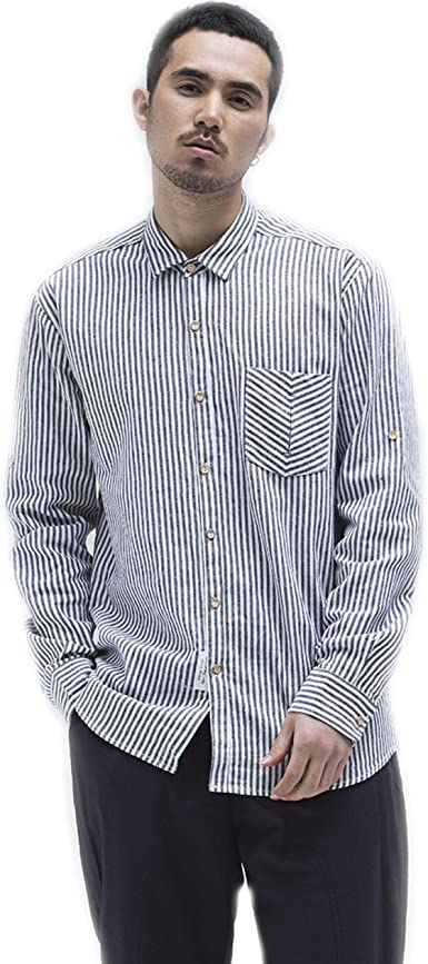 BaronHong Camisas de Lino de Manga Larga a Rayas Verticales ...
