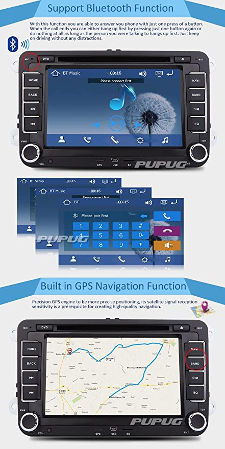 GPS reproductor de DVD del coche Všªdeo Logo Pupug coche DVD GPS Video Player Stereo Radio unidad central Para AUX VW Volkswagen Golf Amarok T5 Jetta Všªdeo ...
