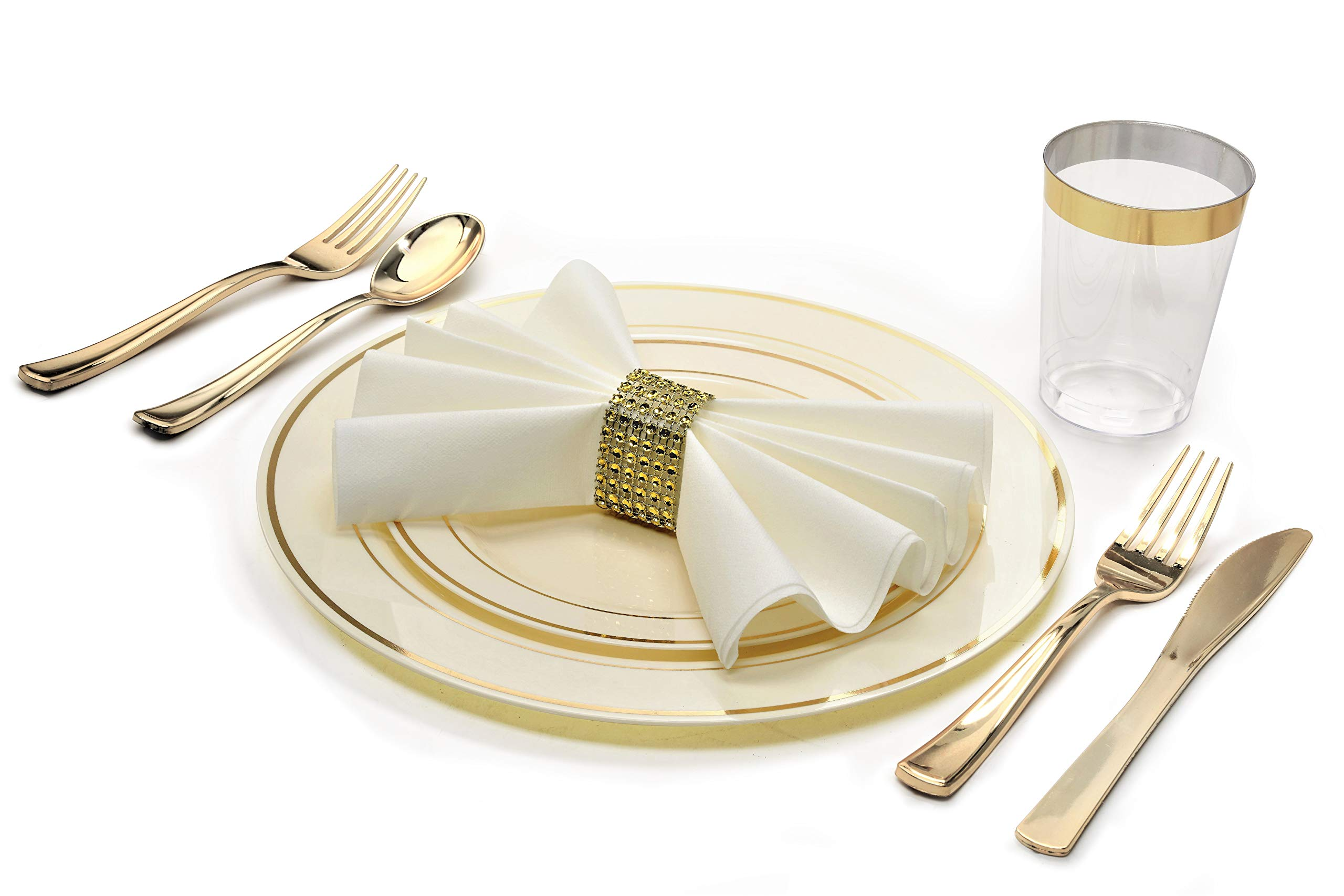 '' OCCASIONS'' 1080 Piece / 120 Guest - Full Tableware Set - Wedding Disposable Plastic Plates, Plastic Silverware, Gold Rimmed Tumblers & Linen Feel Napkins w/napkin Rings (Combo C, Ivory/Gold)