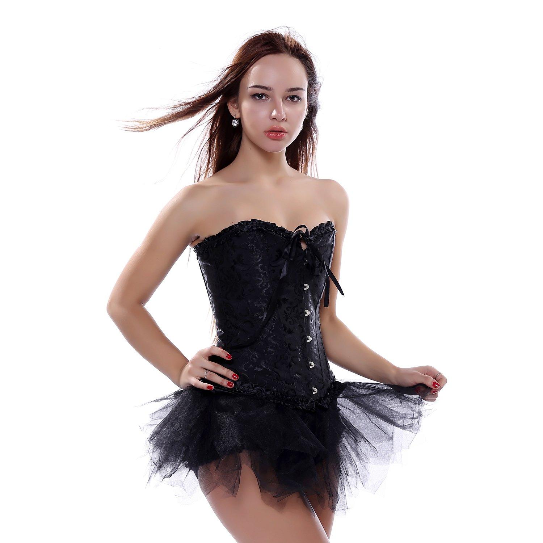 LFFW Elegante Dama de Halloween con Cordones corsé Deshuesado tutú ...