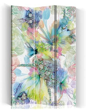 Feeby Frames Canvas Screen 145x150 cm 4 panels NATURE GREEN FLOWERS WHITE Decorative Room Divider Paravent Double sided