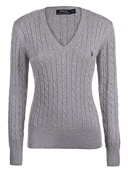 pretty cheap variety of designs and colors 2019 authentic RALPH LAUREN LADIES/WOMENS LUXURY V NECK JUMPER, SWEATER PURPLE, NAVY,  WHITE S, M, L, XL CABLE KNIT