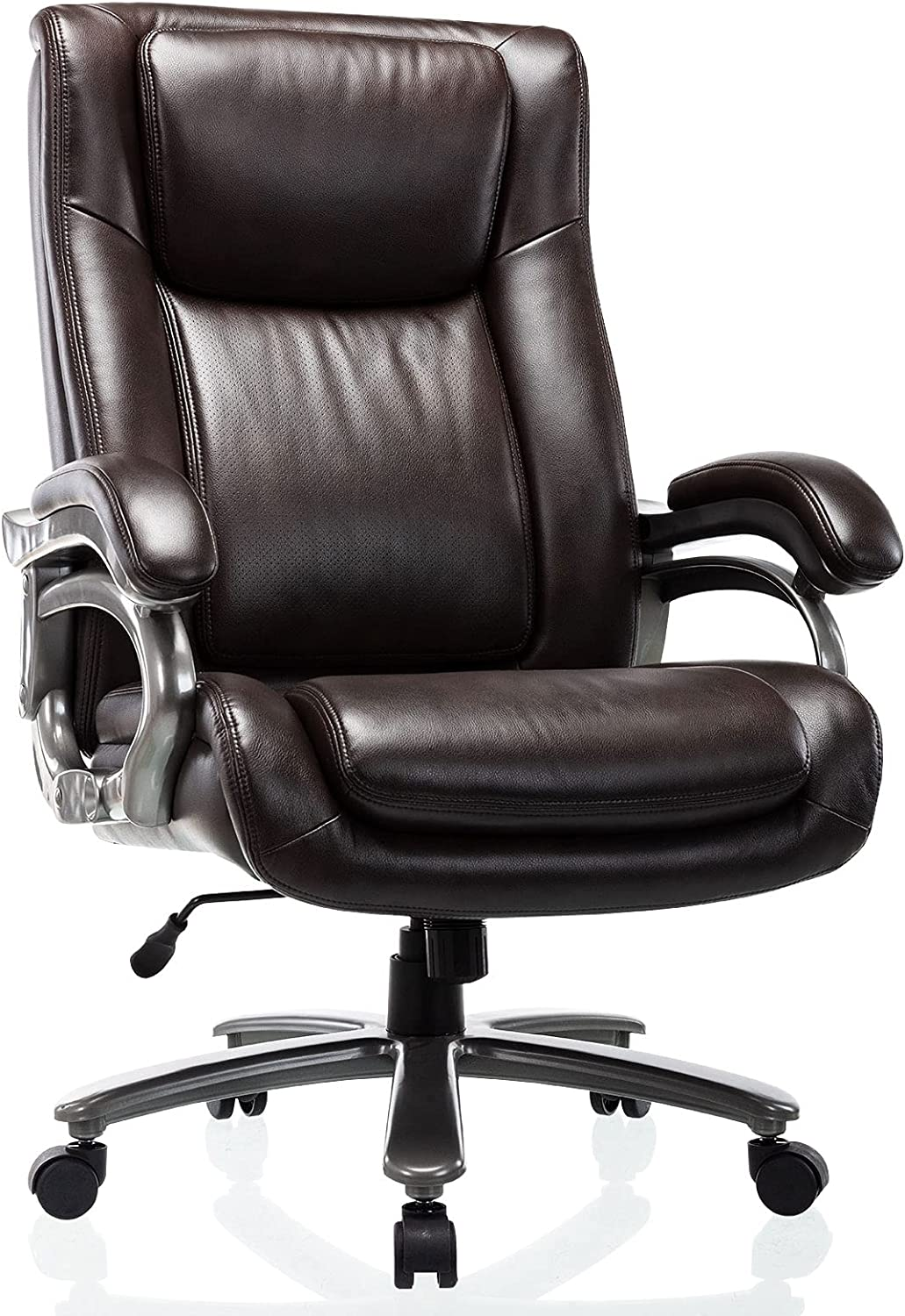 400lb Big & Tall Office Chair - High Back Bonded Leather Executive Managerial Chair, Heavy Duty Metal Base Adjustable Height Thick Padded Seat Ergonomic Design Large Computer Swivel Task Desk Chair: Kitchen & Dining