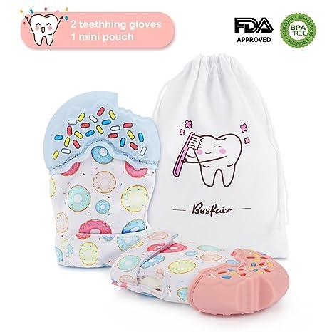 2 Pack Guante de dentición, Besfair Mordedor bebes, Mitón Higiénico Calmante bebés. Silicona flexible, SIN BPA. Manoplas Dentición aliviar el dolor de ...
