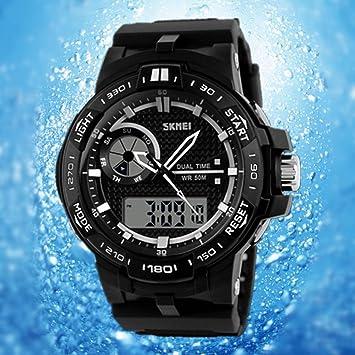 Camtoa® militar Reloj digital deportivo para hombre-Reloj LED sumergible reloj de cuarzo Movimiento analógico fecha LED Negro negro: Amazon.es: Deportes y ...