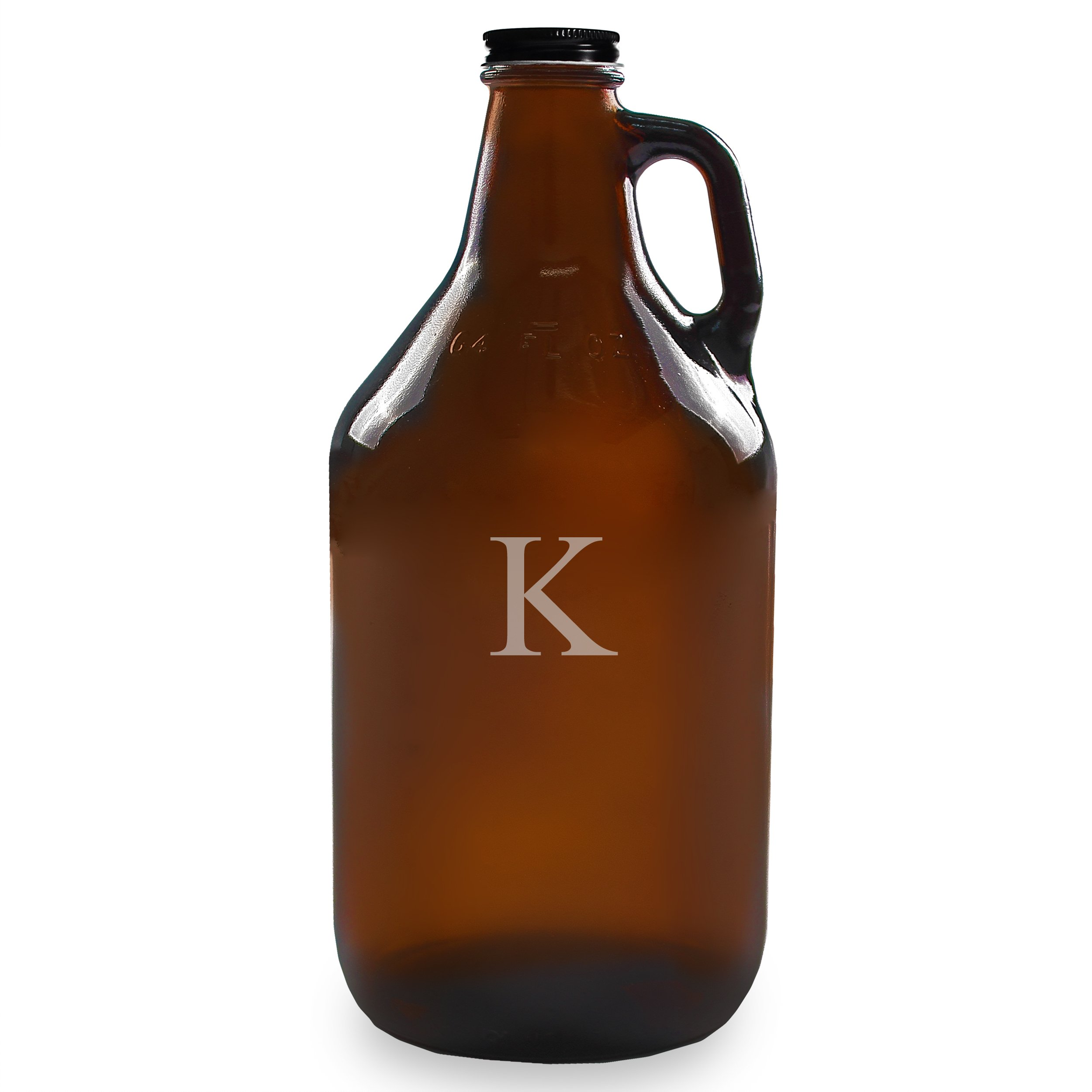 Cathy's Concepts Personalized 64oz Growler, Amber, Letter K