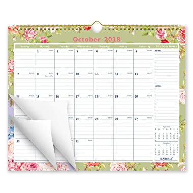 Cabbrix October 2018 - December 2019 Flower Monthly Wall Calendar, 15  x 12 , Wirebound